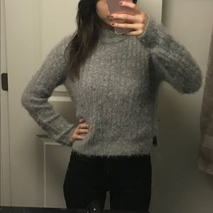 Cozy slightly fuzzy grey sweater